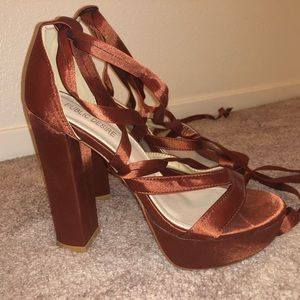 PUBLIC DESIRE LACE UP SATIN HEELS